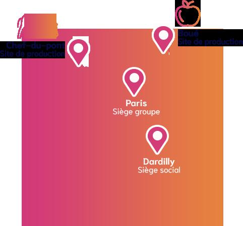 Carte d'implatation en France du groupe MOM